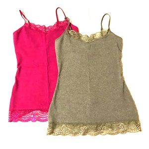 Express Pink and Gray Lace Cami Bundle